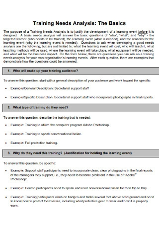 Basic Training Needs Analysis Exasmple