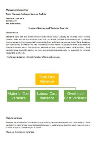 Basic Variance Analysis Template