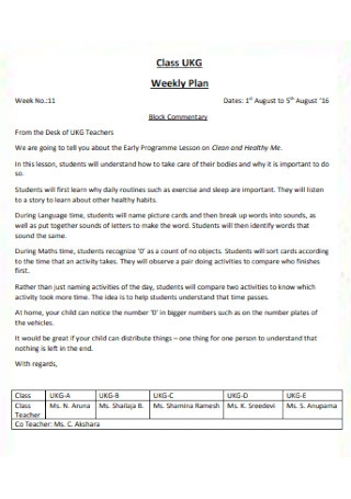 Basic Weekly Plan Template