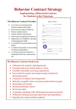 Behavior Contract Strategy Template