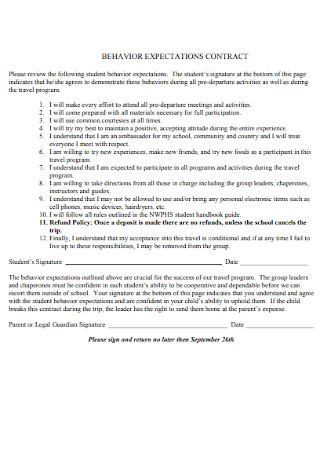 Behavior Expectations Contract