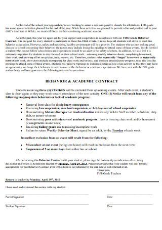 Behavior and Academic Contract