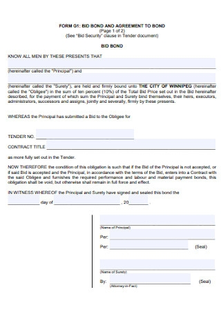 Bid Bond Agreement Template