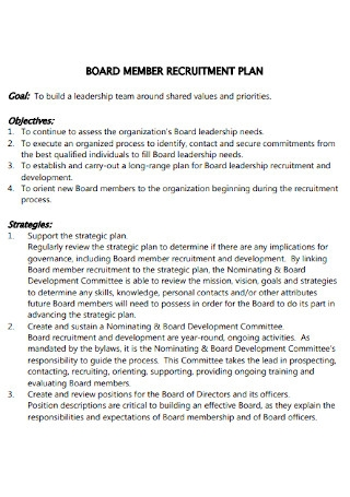 Board Member Recruitment Plan