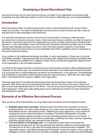 Board Recruitment Plan