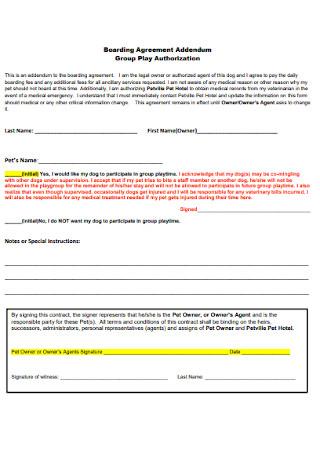 Boarding Agreement Addendum