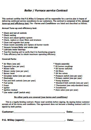 Boiler service Contract