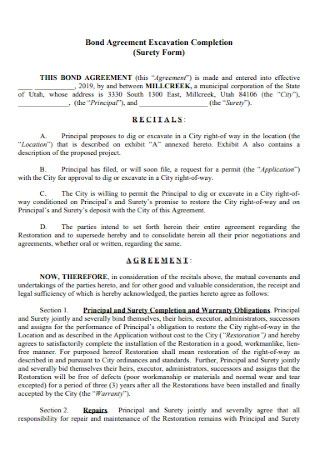Bond Completion Agreement