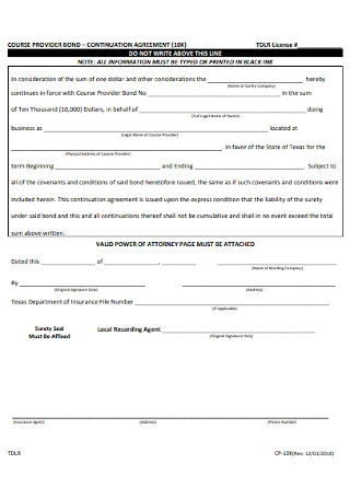 Bond Continuation Agreement Template