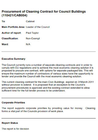 Building Cleaning Contract