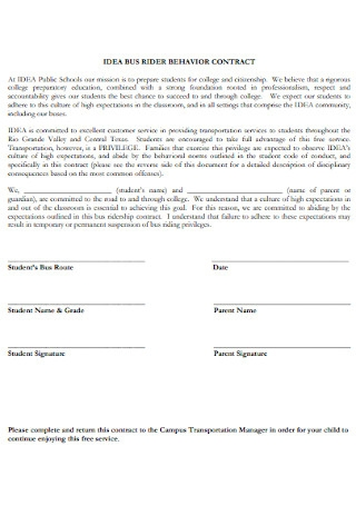 Bus Rider Behavior Contract