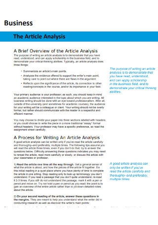 Business Article Analysis Template
