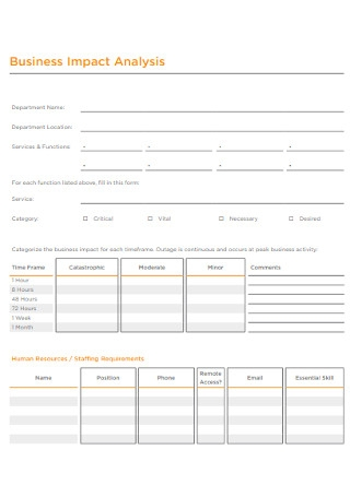 Business Impact Analysis Form