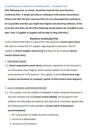 Business Impact Analysis Plan