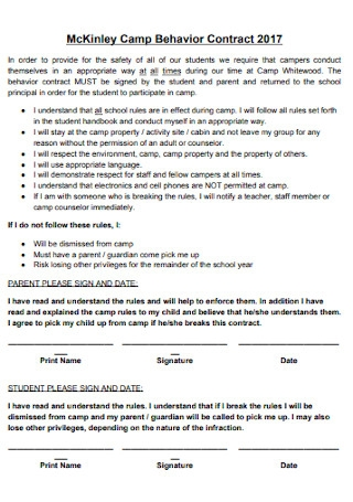 Camp Behavior Contract