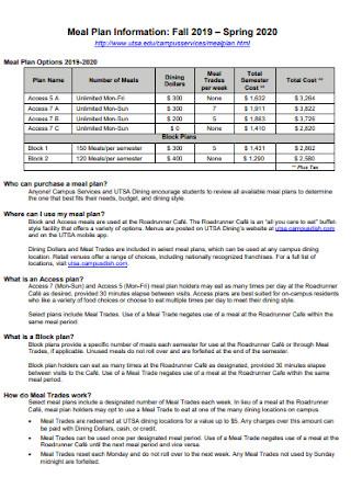Campus Meal Plan