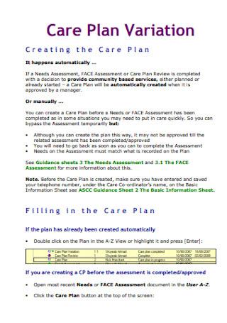 Care Plan Variation
