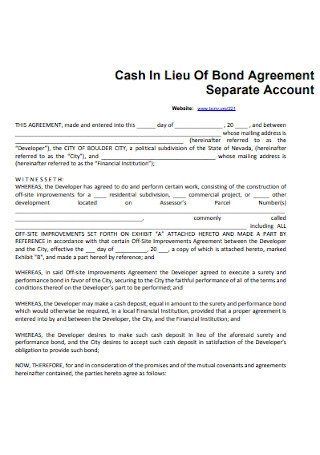 Cash Bond Agreement