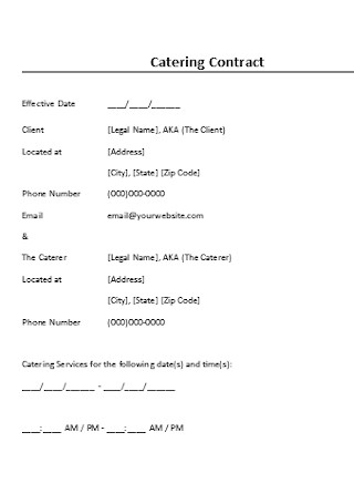 Catering Contract Format