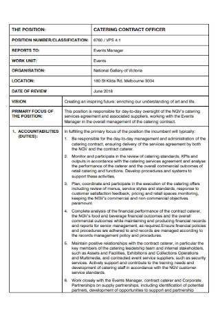 Catering Contract Officer Template