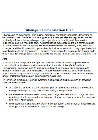 Change Communication Plan