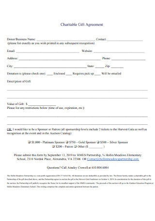 Charitable Gift Agreement Example