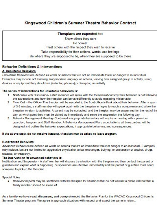 Childrens Behavior Contract