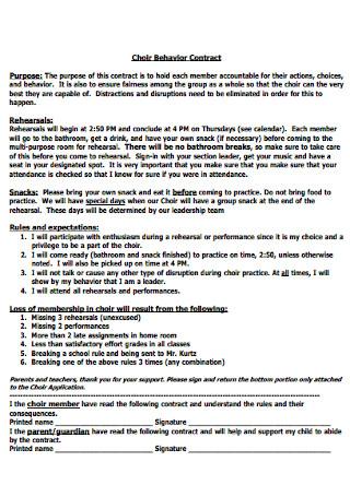 Choir Behavior Contract