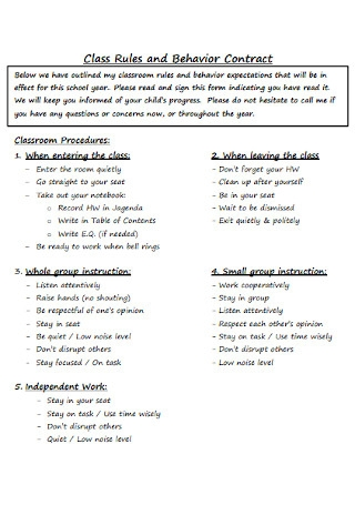 Class Rules and Behavior Contract