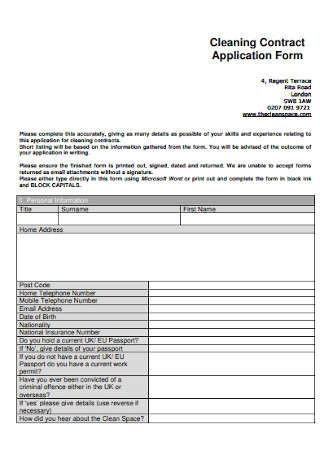 Cleaning Contract Application Form