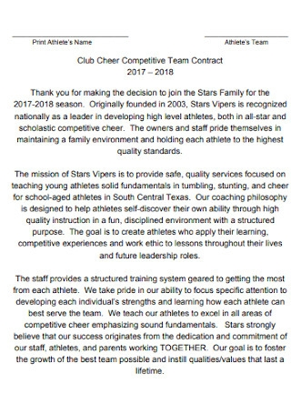 Club Cheer Competitive Team Contract