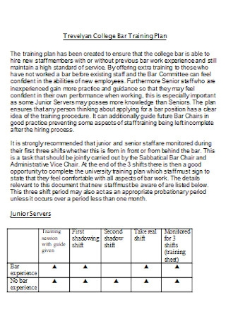 College Bar Training Plan