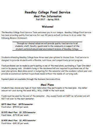 College Food Meal Plan