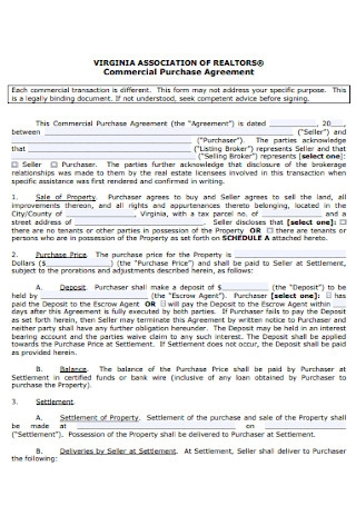 Commercial Purchase Agreement