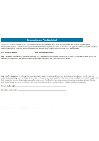 Communications Plan Worksheet