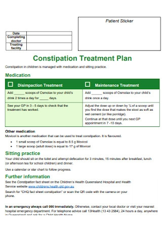 Constipation Treatment Plan