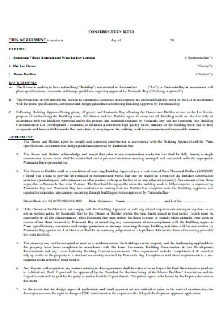 Construction Bond Agreement Template