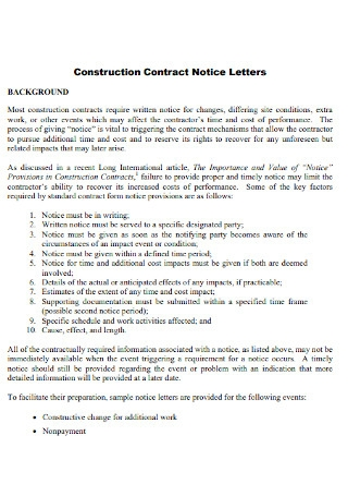 Construction Contract Notice Letter