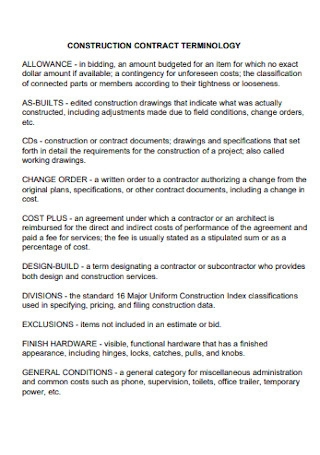 Construction Contract Terminology Template