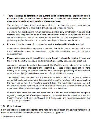 Construction Training Needs Analysis
