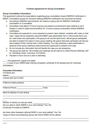 Contract Agreement for Group Consultation
