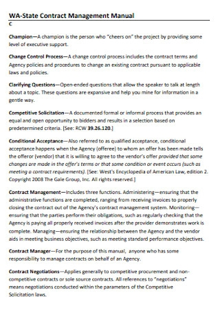 Contract Management Manual Template