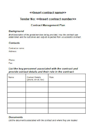 Contract Management Plan Templates
