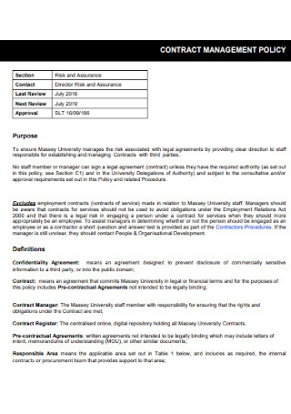 Contract Management Policy Template
