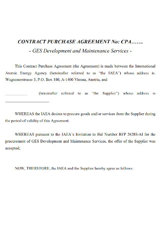 Contract Purchase Agreement