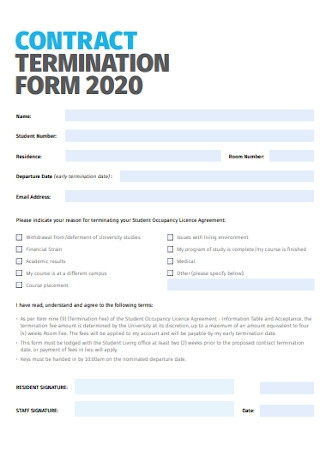 Contract Termination Form Template