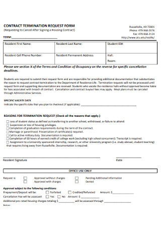 Contract Termination Request Form