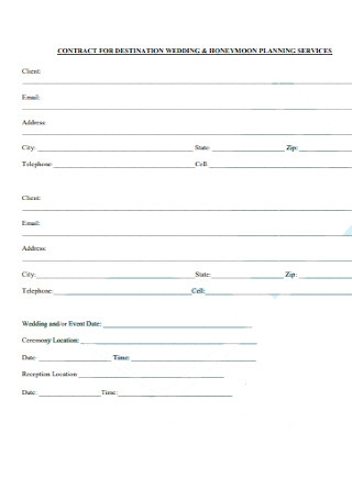 Contract for Distination Wedding