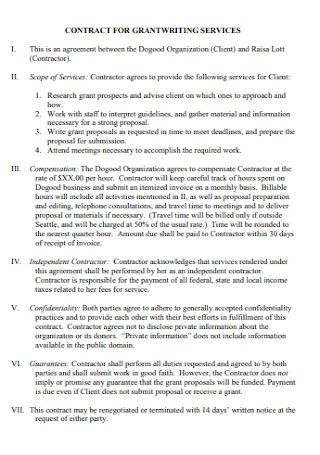 Contract for Grandwriting Services