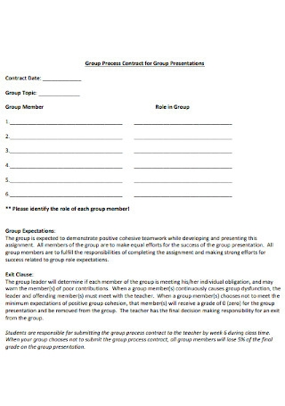 Contract for Group Presentations Template